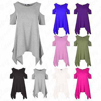 £7.99 • Buy Women's Cold Cut Out Shoulder Ladies Over-sized Baggy Loose Hanky Hem Flared Top