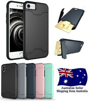 AU9.99 • Buy Slim Armor Kickstand Slot Card Holder Shockproof Case For Iphone 6 7 8 X XS Plus