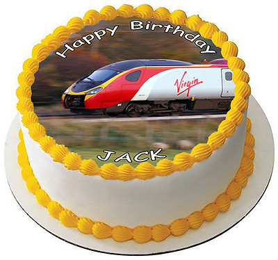 TRAIN 7.5  PREMIUM Edible RICE WAFER Cake Topper CAN PERSONALISE TEXT D2 • 3.47£