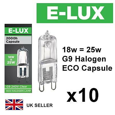 £5.99 • Buy 10x G9 18w=25w E-LUX DIMMABLE ECO HALOGEN ENERGY SAVING Bulbs Capsule 240V