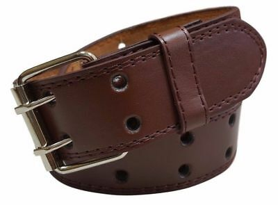 $4.99 • Buy Men's Women's Genuine Leather Two Prong Double Row Holes Casual Plain Brown Belt