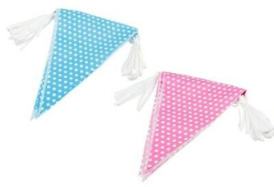£3.49 • Buy 10m Polka Dot Bunting Baby Shower Party Decoration New Boy Girl Blue Pink Garden