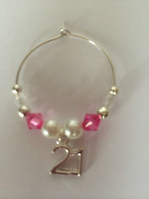 Wine Glass Charm 18th 21st 30th 40th, 50th 60th, Hot Pink Birthday Gift, Present • 2.65£