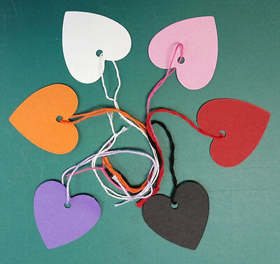 Heart Shaped Kraft Strung String Tags Swing Price Ticket Jewellery Tie On Labels • 3.99£