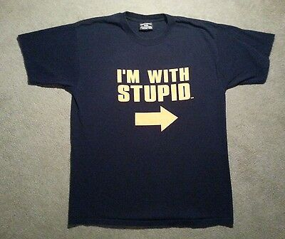 I'm With Stupid T-Shirt Funny Excellent Condition 100% Preshrunk Cotton • 10.63£