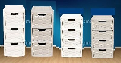 Plastic Rattan Drawer Storage Unit Cabinet  Small & Medium Office School Home • 12.49£