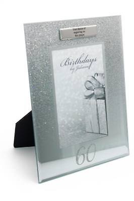£11.29 • Buy Personalised 60th  Birthday Photo Frame Silver Glitter Gift FG59560-P