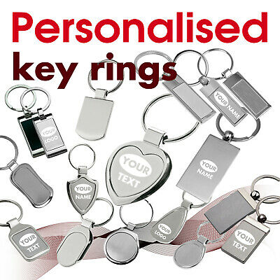 £4.29 • Buy Personalised Keyring Engraved With Text, Name, Logo * 07 * GIFT* Brithday Heart