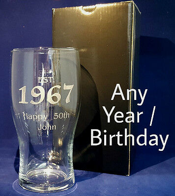 Personalised Engraved Pint Glass Established 1980 40th Birthday Gift Present  • 8.90£