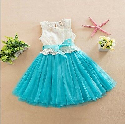 AU19.95 • Buy Girls Dress Elsa Dress Lace Tulle TuTu Bow Party Birthday 6 LAYERS 1-7yrs