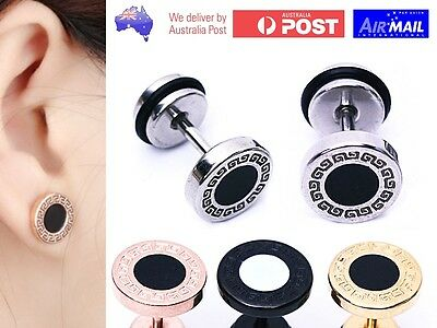 AU6.98 • Buy 1 Pair Fake Earplug Round Stretcher Earring Disc Ring Tunnel Ear Piercing Circle
