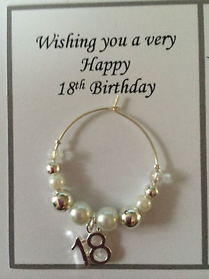 Wine Glass Charm 18th 21st Birthday Silver & White Celebration Gift Or Present • 2.65£