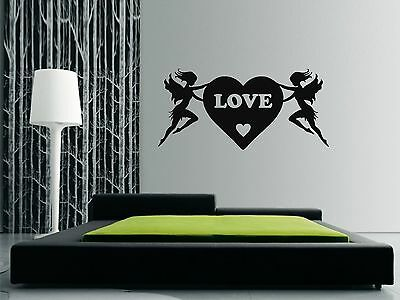 £10 • Buy LOVE HEART & ANGELS Wall Art Sticker, Decal, Mural, 3 X Sizes Available