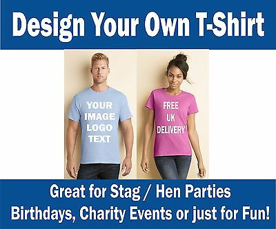 £10 • Buy PERSONALISED PRINTED T-SHIRTS - Photos, Text, Logos - STAG, PARTIES, WORK,
