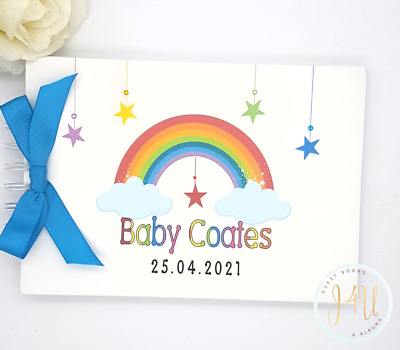 Personalised Rainbow Baby Shower  Christening Guest Book /memory Scrapbook Album • 13.99£