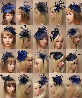 Navy Fascinator Wedding Races Prom Ascot Occasion Wholesale Headpiece Clip Band, • 11.49£
