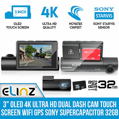 AU215 • Buy 4K Ultra HD Dual Dash Cam 3  OLED Touch Screen WiFi GPS Sony Supercapacitor 32GB