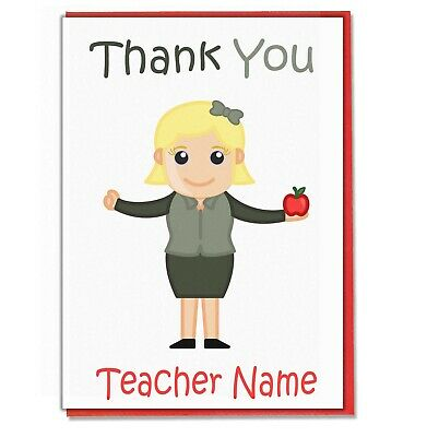 Personalised Thank You Card - Teacher Teaching Assistant Head Mistress (Lady1) • 3.49£