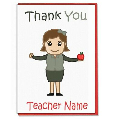 Personalised Thank You Card - Teacher Teaching Assistant Head Mistress (Lady2) • 3.49£