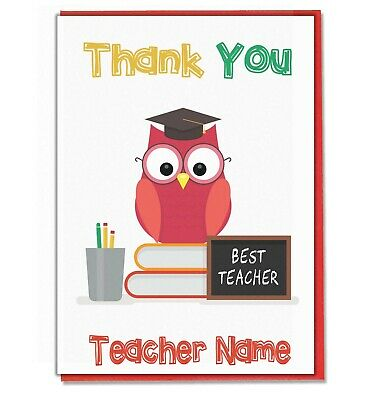 Personalised Owl Thank You Card  Teacher Teaching Assistant Head Master Mistress • 3.49£