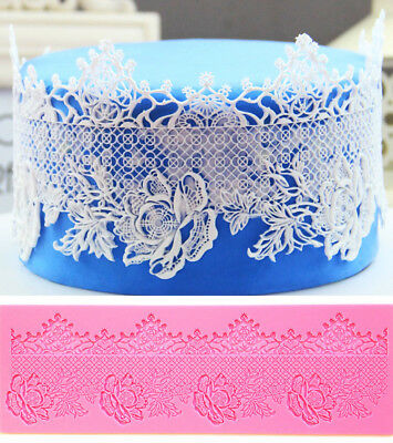 Large Flower Lace Silicone Fondant Cake Decorating Mould Mold Mat Wedding • 6.99£