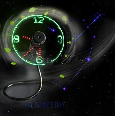 AU7.93 • Buy Portable Micro/Mini LED USB Cooling Clock Fan Flashing Real Time Display
