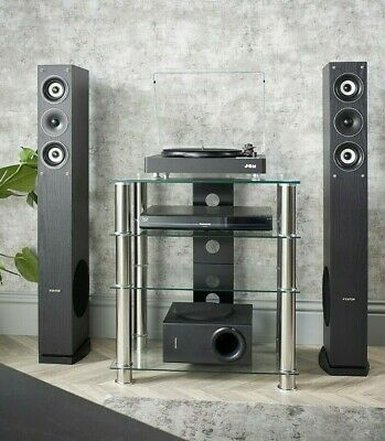 Hi Fi Stand 4 Shelf Clear Glass AV Hi-Fi Rack Unit Records Vinyl Player Storage  • 69.99£