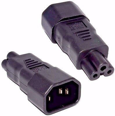 Iec C14 Male Plug To Cloverleaf C5 Connector Mains Power Cable Adaptor,converter • 2.99£