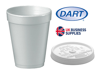 Dart 10oz Polystyrene Insulated Foam Poly Cups 1000 & Lids Offer PLUS FREE P&P • 52.99£