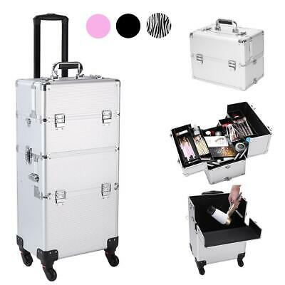 Professional 3 In 1 Makeup Vanity Travel Case Beauty Cosmetics Carry Box Trolley • 68.39$