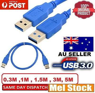 AU7.99 • Buy USB 3.0 SuperSpeed Extension Cable Type A Male To Male Cord 0.5M 1M 1.5M 3M 5M