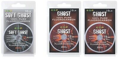 Esp Soft Ghost Fluorocarbon Carp Fishing Line 20m Spool All Sizes • 10.95£