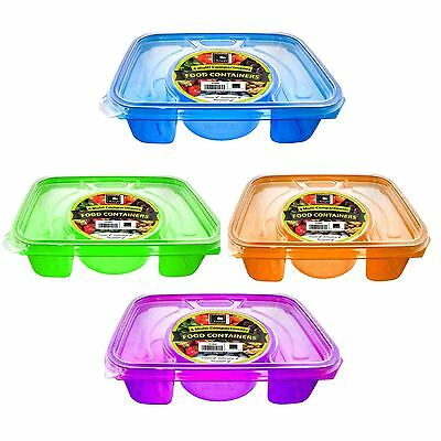 4 Divide Compartment Plastic Food Container Lunch Box Picnic Microwave Freezer • 4.29£