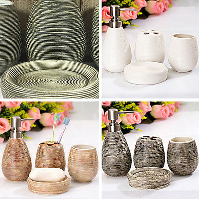 £13.99 • Buy Set Of 4 Textural Bathroom Accessory Dispenser Toothbrush Holder Cup  Soap Dish