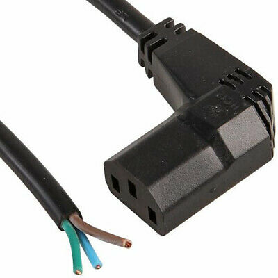 3m, 90° Right Angle Iec C13 Socket To Bare/open Ends Black Cable,lcd Kettle Lead • 6.39£