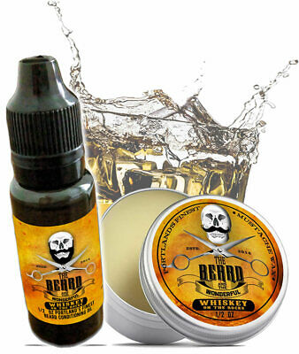 Whiskey On The Rocks Moustache Wax & Conditioning Beard Oil Set Portlands Finest • 7.49£