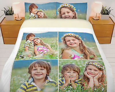 Personalized Digital Photo Printed Duvet Cover Bed Set Single,Double,King,S-King • 94.99£
