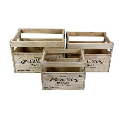 Vintage General Store Wooden Crate Storage Box Fruit Crates Home Basket Boxes • 12.99£