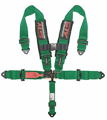 $ CDN114.10 • Buy UNIVERSAL GREEN 5 Point Latch And Link Racing Seat Belt HARNESS SFI
