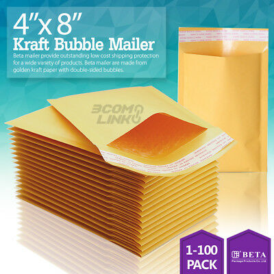 $9.95 • Buy 4x8 (4x7) Kraft Self Seal Bubble Mailer Padded Envelope, #000 25,50,100,500