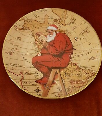 $ CDN12.18 • Buy NORMAN ROCKWELL CHRISTMAS PLATE SANTA PLANS HIS VISIT 1981 Collectable  Heirloom