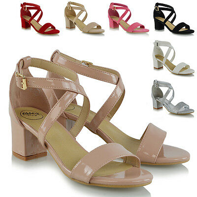 Womens Strappy Sandals Low Mid Heel Block Ladies Peep Toe Party Prom Shoes Size • 19.99£