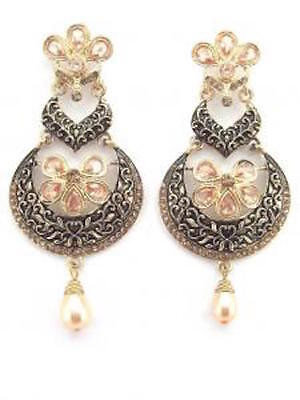 AU15.39 • Buy Gold And Black Large Earrings Pearl Drop CZ Stones Indian Bollywood Jewellery