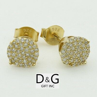 $16.99 • Buy DG Mens Sterling-Silver 925.Gold CZ 6mm Round,Studs*Earring*Unisex.Box