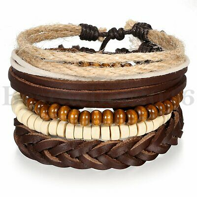 $6.99 • Buy 5pcs Leather Bracelets For Men Women Wooden Beaded Bangle Braided Cuff Wristband
