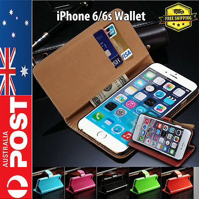 AU7.95 • Buy Leather Flip Wallet Case Cover For Apple IPhone 6 & 6s Card ID Holder AU