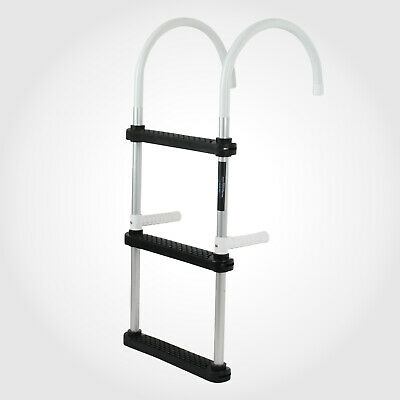 AU54.95 • Buy 3-STEP Aluminium Folding LADDER Marine Boat Yacht Portable Swim Alloy Boarding