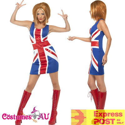 AU28.49 • Buy Ladies Ginger Spice Girls Costume Union Jack 1990s Fancy Dress 90s Pop Star 80s