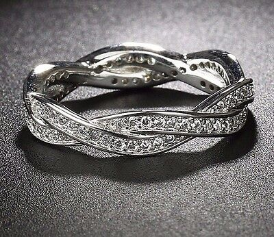 Genuine Cz Silver Twist Of Fate Braided Pave Stacking Eternity Ring Size 56 Sale • 9.99£