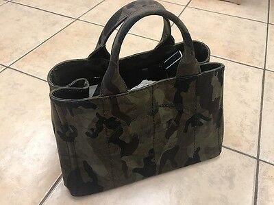 36ddaa83c436 Authentic PRADA Canapa Camouflage Green Large Tote Messenger Bag • 699.00$